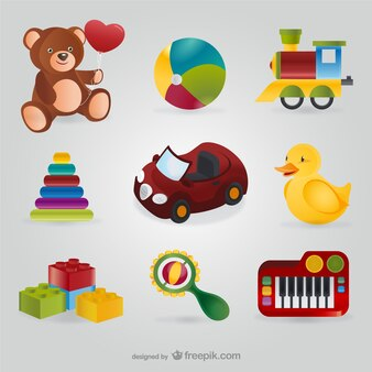 Pacote de brinquedos coloridos