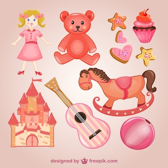 Pacote de brinquedos-de-rosa