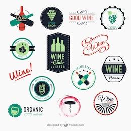 Pacote de emblemas de vinho coloridos