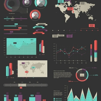 Pacote de vetor elementos infográfico mista