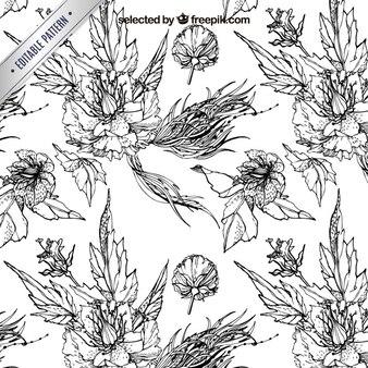 Padrão de gravura com flores