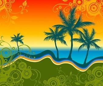 Padrão de paisagem tropical com silhuetas de palmeiras