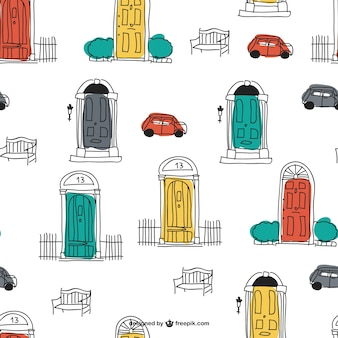 Padrão doodles vetor urbano