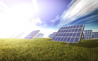 Painéis solares em um prado