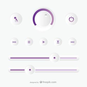 Painel de controle de gravação de áudio
