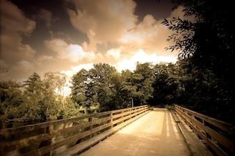 Paisagem com uma ponte de madeira