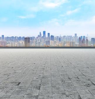 Paisagem, construção, futurista, skyline, escritório, oriental