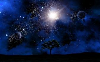 Paisagem do espaço 3D com a silhueta da árvore contra o céu