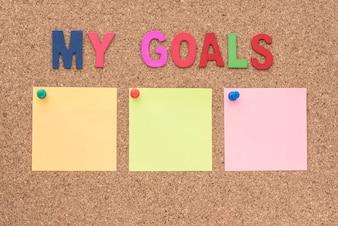 Palavras meus objetivos com bloco de notas