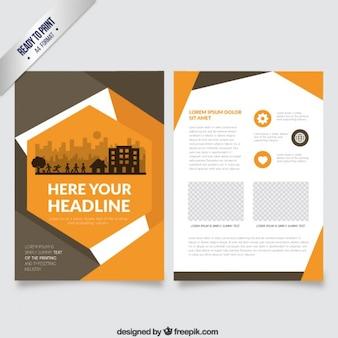 Panfleto de laranja em estilo abstrato