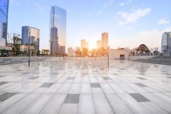 Panorama arranha-céu espaço de viagem chão