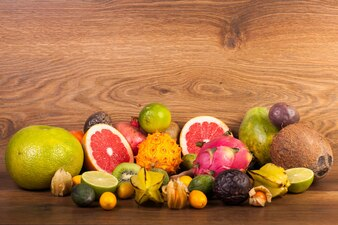 Papaya, paixão, manga, fruta, tropicais