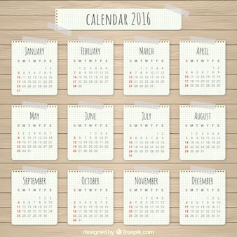 Papel 2016 calendário