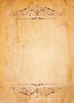 Papel antigo com moldura vintage modelada - em branco para o seu design