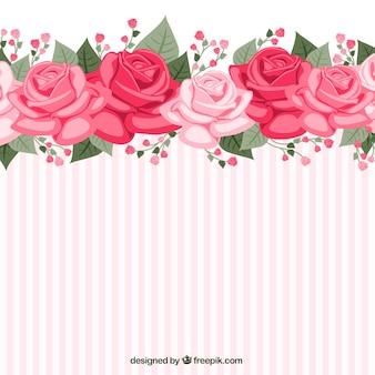 Papel de parede listrado com rosas