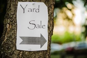 Papel mostrando venda