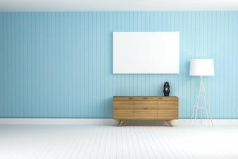 Parede azul com um mobiliário de marrom