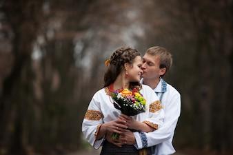Parque bordados recém-casados popular étnica