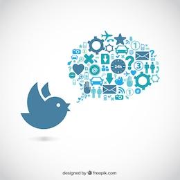 Pássaro e bolha do discurso cheio de ícones