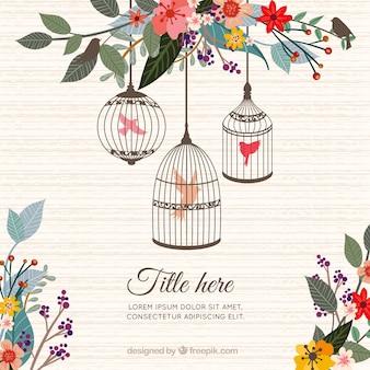 Pássaro em gaiolas e flores