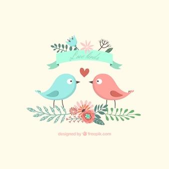 Pássaros adoráveis bonitos