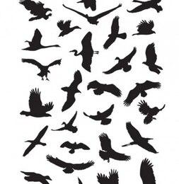 Pássaros voando silhuetas de gráficos vetoriais pacote
