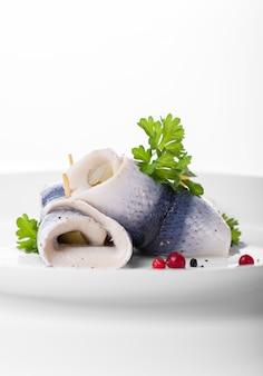Peixes rolado com alface