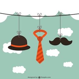 Pendurado acessórios masculinos em uma corda