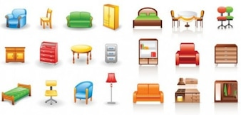 Pequena casa mobiliário colorido do ícone do vetor
