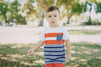 Pequeno, menino, 7, ano, parque
