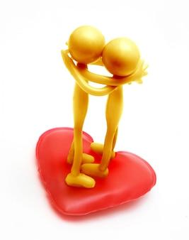 Personagens amarelos beijando
