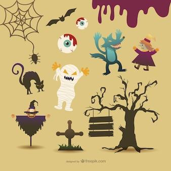 Personagens de desenhos animados do dia das bruxas