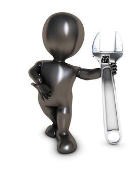 Pessoa com uma chave inglesa