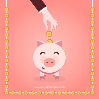 Vetor dos desenhos animados Piggy banco