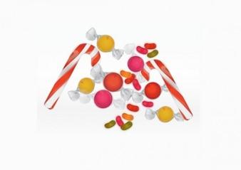 Pilha de doces elementos do vetor do Natal