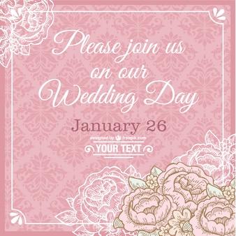Rosa cartão de casamento