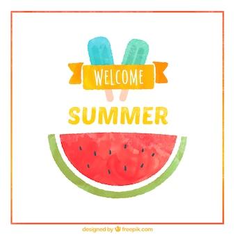 Pintados à mão cartão de verão bem-vindos