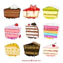 Pintados à mão coleção bolos
