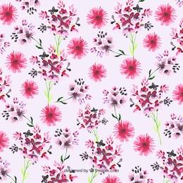 Pintados à mão flores cor de rosa fundo