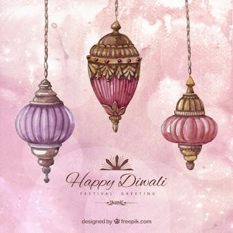 Pintados à mão fundo diwali feliz
