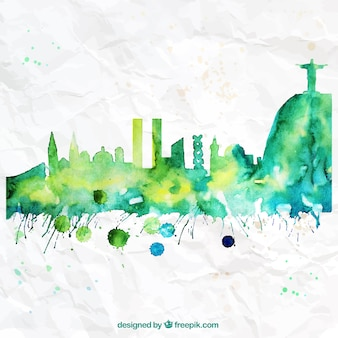 Pintados à mão skyline Rio de Janeiro