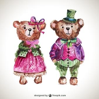 Pintados à mão ursos de peluche