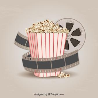 Pipoca e película de filme