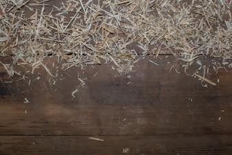 Piso de madeira com palha