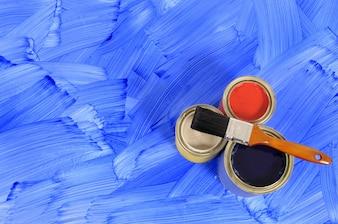 Piso pintado de azul
