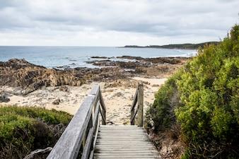 Pista de madeira para acesso à praia.