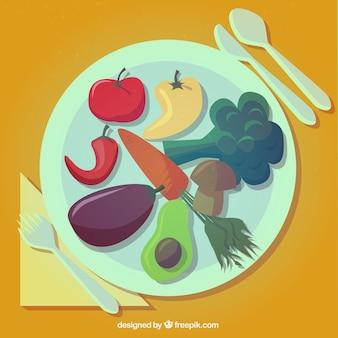 Placa com vegetais