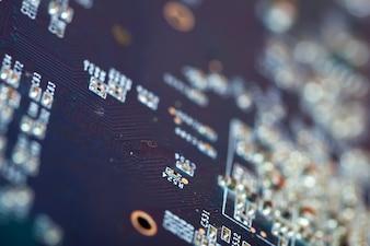 Placa de circuito eletrônico. DOF raso