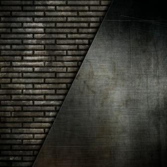 Placas de metal grunge em um antigo fundo de parede de tijolos