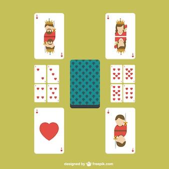Cartões do póquer do coração do vetor